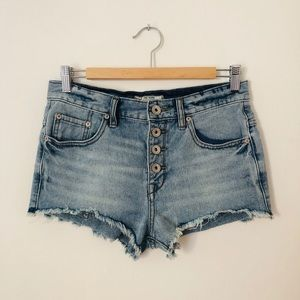 FREE PEOPLE Button-Fly Frayed Denim Shorts Sz 25
